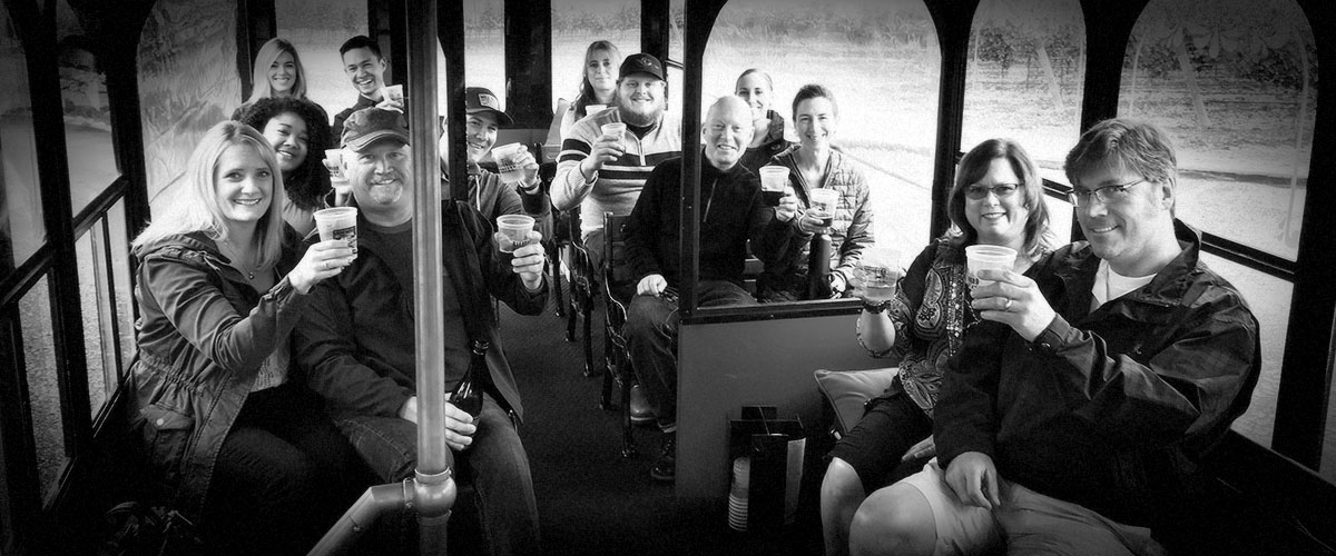 2Hawk Vineyard and Winery Staff Wine Tasting All Aboard Trolley (Grayscale)