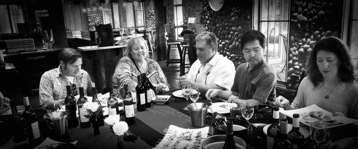 2Hawk Vineyard and Winery Hosting of Wine Writers for OWP Oregon Wine Tour (Grayscale)