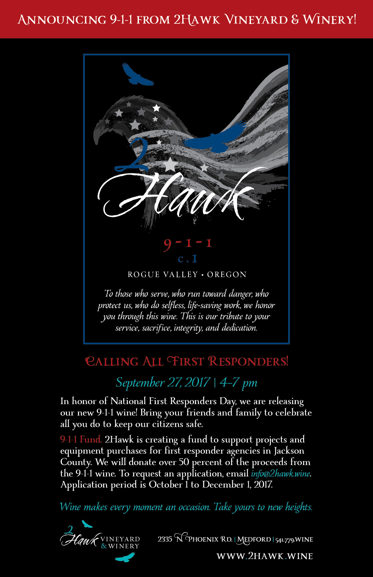 2Hawk 9-1-1 Wine Poster