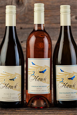 2Hawk Vineyard and Winery Plume Blanc v2, Grenache Rose, and 2017 Sauvignon Blanc 2017 Wine Bottles