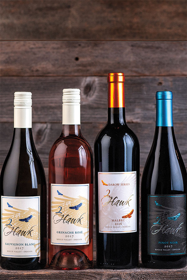 2Hawk Vineyard and Winery Sauvignon Blanc 2017, Grenache Rose 2017, Malbec 2016, and Pinot Noir 2017