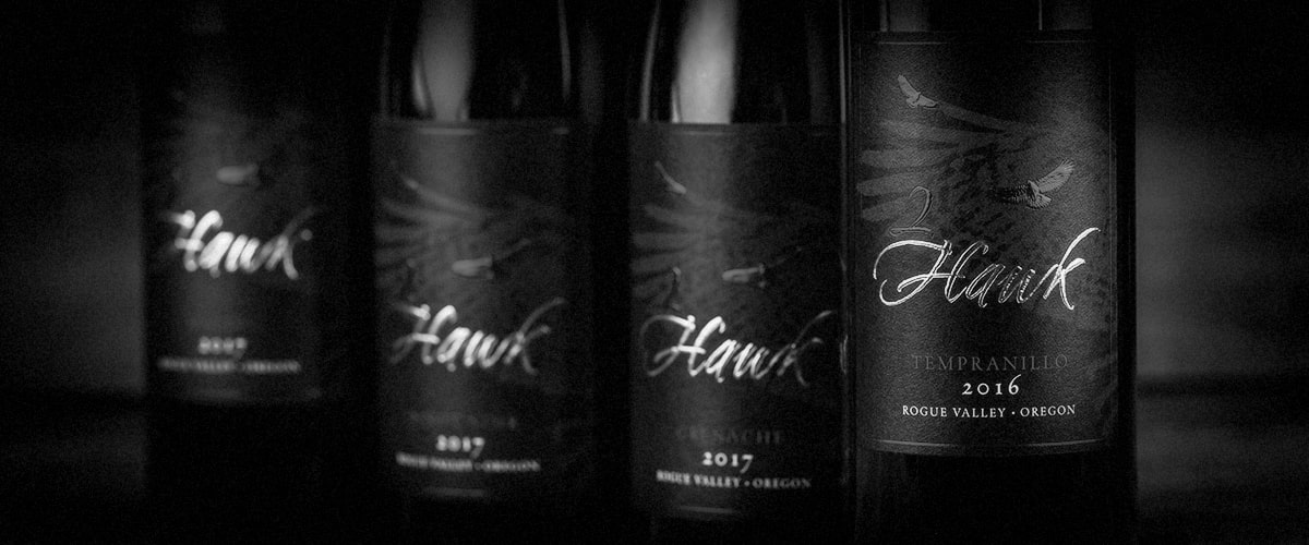 2Hawk Vineyard and Winery Red Wines with Tempranillo in Focus (Grayscale)