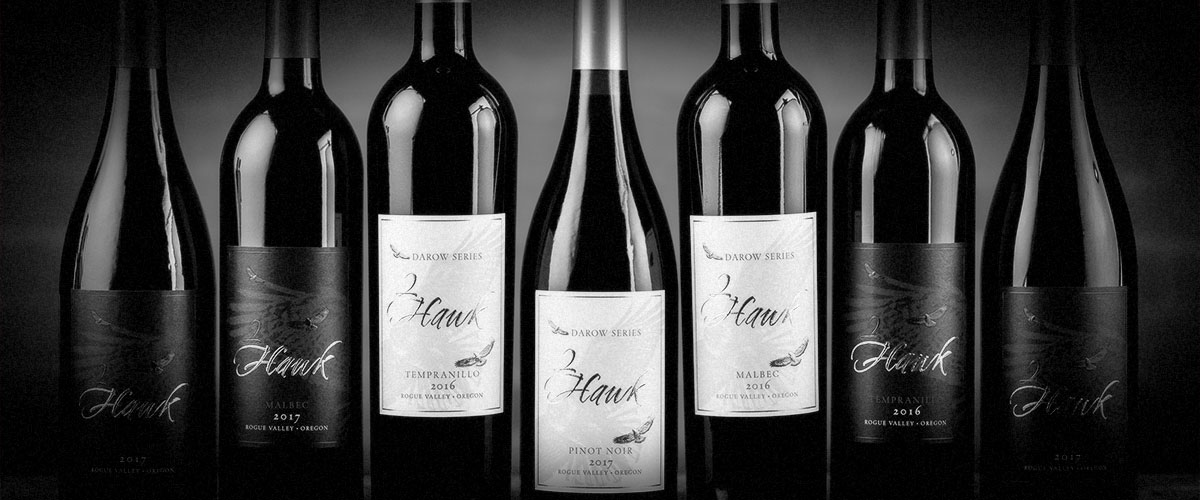 2Hawk Bottle Lineup Fall 2018 with Grenache, Malbec, Tempranillo, Pinot Noir, and Malbec (Grayscale)