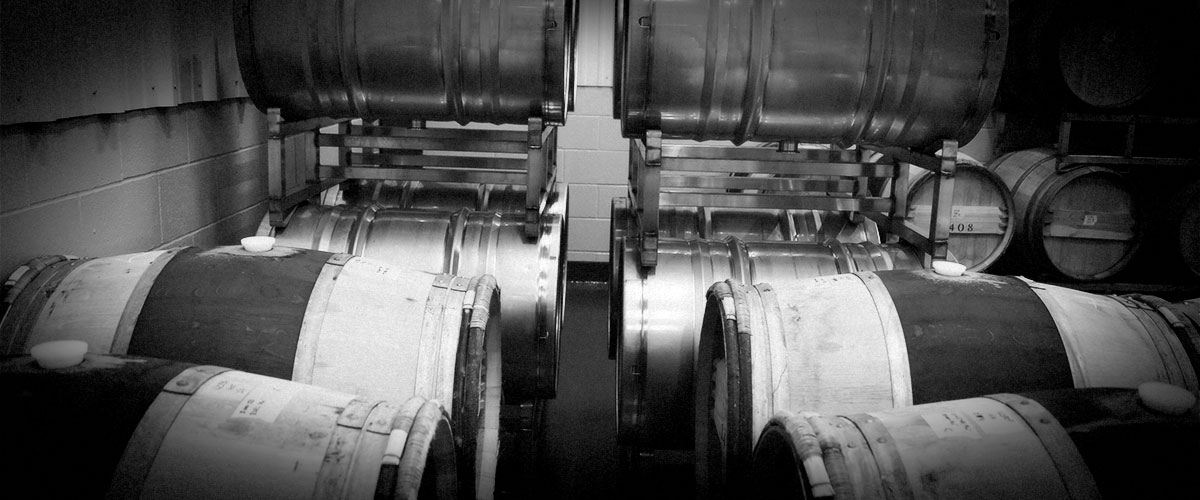 2Hawk Winery Oak Barrels and Stainless-Steel Vessels (Grayscale)