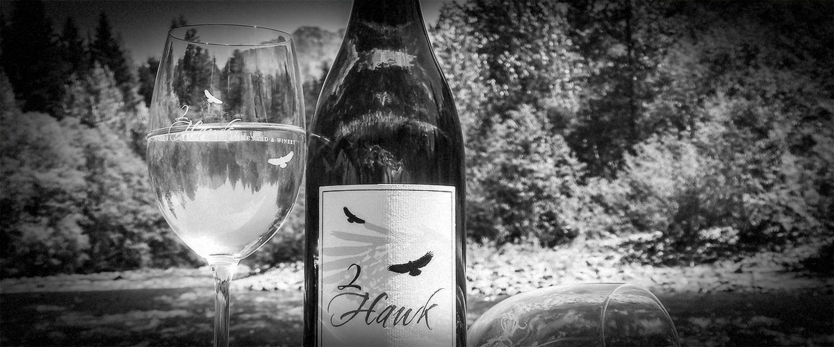 2Hawk Vineyard and Winery 2017 Sauvignon Blanc Bottle and Glass at River (Grayscale)