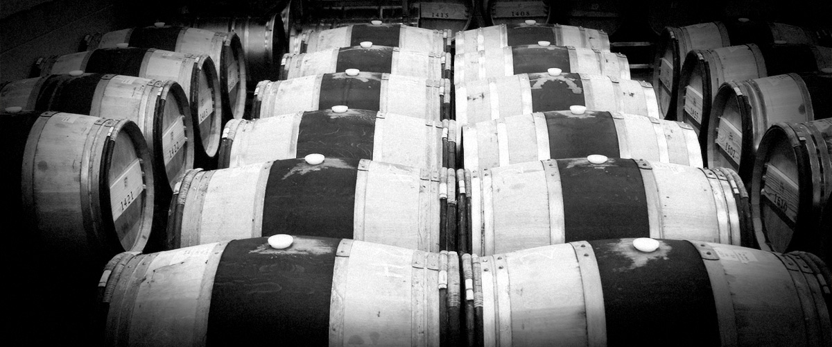 2Hawk Vineyard and Winery Oak Barrels (Grayscale)