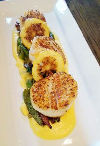 Pan-Seared Sea Scallops and Grilled Asparagus and Romesco