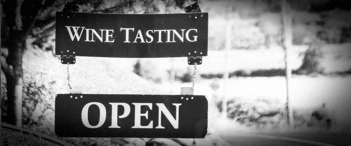 2Hawk Vineyard and Winery Wine Tasting Open Sign (Grayscale)