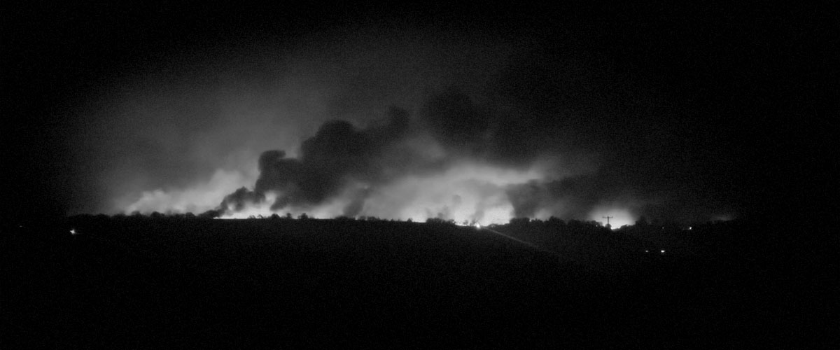Almeda Fire from 2Hawk Vineyard (Grayscale)