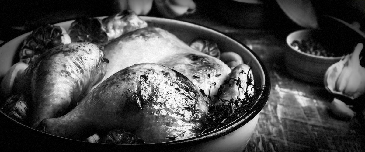 Winter Comfort Foods Roast Chicken (Grayscale)