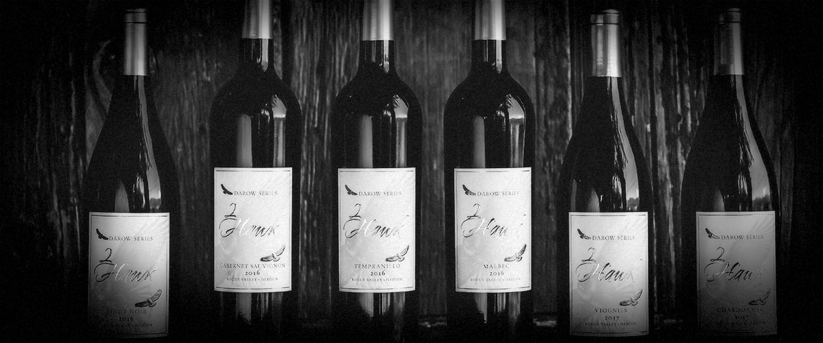 2Hawk Vineyard and Winery Darow Series Wines (Grayscale)