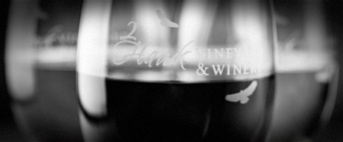 Wines in 2Hawk Glasses (Grayscale)