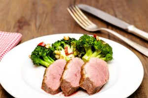 Duck Breast with Charred Broccoli and Pickled Pemento do Couto